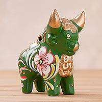 Ceramic figurine, 'Green Pucara Bull' - Hand Painted Green Ceramic Little Bull of Pucara Statuette