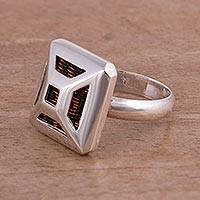 Sterling silver cocktail ring, 'Cage Weave' - Sterling Silver and Copper Cocktail Ring from Peru