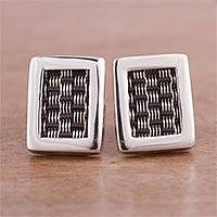 Sterling silver button earrings, 'Woven Dimensions' - Weave Motif Sterling Silver Button Earrings from Peru