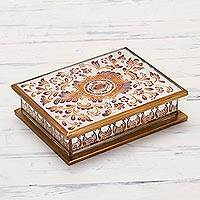 Reverse-painted glass decorative box, 'Floral Luxury' - Reverse Painted Glass Decorative Box with Floral Motifs