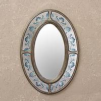 Reverse-painted glass wall mirror, 'Radiant Reflection' - Oval Reverse Painted Glass Wall Mirror from Peru