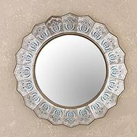 Reverse-painted glass wall mirror, 'Bright Reflection' - Reverse Painted Glass Wall Mirror from Peru