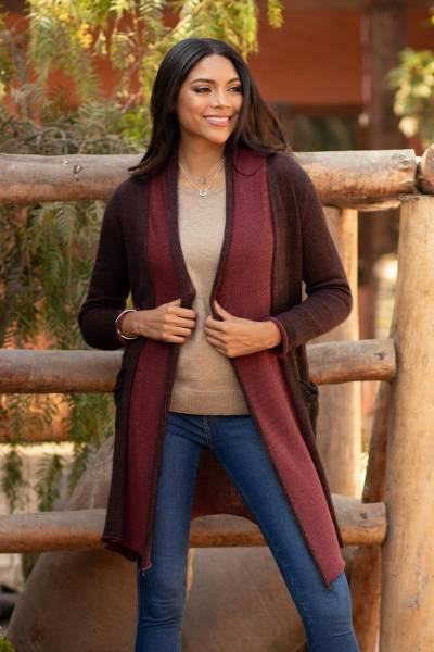 100% pima cotton long cardigan, 'Pink Java' - Long Brown and Pink 100% Pima Cotton Cardigan from Peru