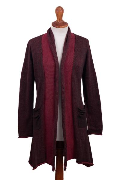 Long Brown and Pink 100% Pima Cotton Cardigan from Peru