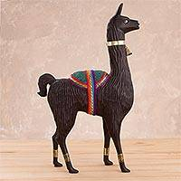 Wood statuette, 'Noble Llama' - Wood Llama Statuette with Bronze and Gemstone Accents