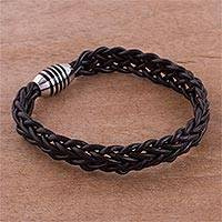 Men's leather braided wristband bracelet, 'Bold Braid' - Men's Braided Black Leather Wristband Bracelet from Peru