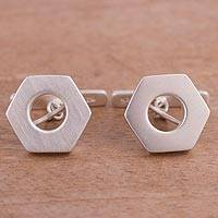 Sterling silver cufflinks, 'Urban Mystique' - Sterling Silver Hexagon Cufflinks from Peru