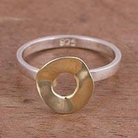 Gold-accented sterling silver cocktail ring, 'Shining Eclipse' - Gold Accented Sterling Silver Cocktail Ring from Peru