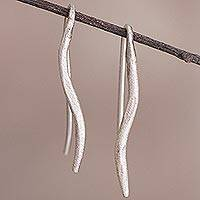 Sterling silver drop earrings, 'Graceful Flourish' - Sterling Silver Drop Earrings from Peru