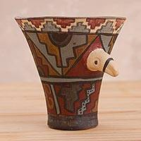 Ceramic decorative vessel, 'Huari Condor' - Ceramic Statuette of Huari Ceremonial Vessel with Condor