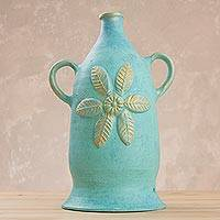 Ceramic decorative vase, 'Leafy Flower' - Floral Ceramic Decorative Vase from Peru