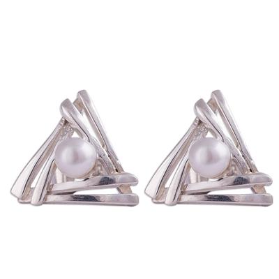 Cultured pearl stud earrings, 'Hidden Glow' - Triangular Cultured Pearl Stud Earrings from Peru