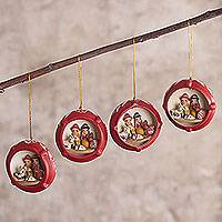 Ceramic ornaments, 'Christmas Scene' (set of 4) - Hand Painted Ceramic Christmas Ornaments (Set of 4)