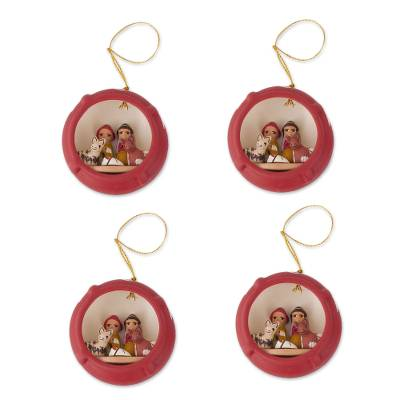 Hand Painted Ceramic Christmas Ornaments (Set of 4)