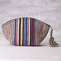 Cotton cosmetics bag, 'Inca Folklore' - Artisan Crafted Striped Cotton Cosmetics Bag from Peru