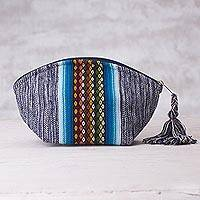 Cotton cosmetics bag, 'Snowy Andes' - Blue Cotton Cosmetics Bag with Multicolored Andean Pattern