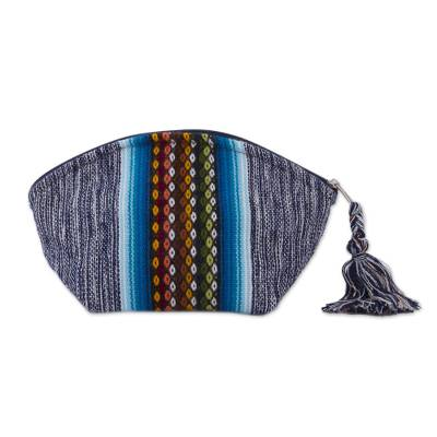 Blue Cotton Cosmetics Bag with Multicolored Andean Pattern