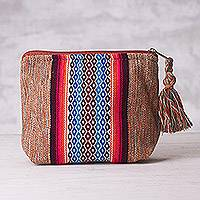 Cotton cosmetics bag, 'Altiplano Beauty' - Loom Woven Cotton Cosmetics Bag with Geometric Motif