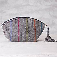 Cotton cosmetics bag, 'Winter Sky' - Grey Cotton Cosmetics Bag with Colored Stripes from Peru