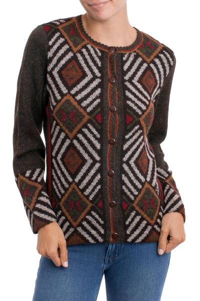 100% alpaca cardigan, 'Incan Argyle' - 100% Alpaca Brown Cardigan Sweater with Diamond Motif