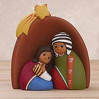 Ceramic nativity scene, 'Star Born' (set of 3) - Andean Family Beneath Star Ceramic Nativity Scene (Set of 3)