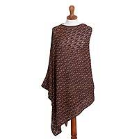 Cotton and baby alpaca blend reversible poncho, 'Fluid Motion' - Blue Orange and Reversible Cotton Alpaca Blend Poncho