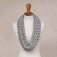 Alpaca blend infinity scarf, 'Stylish Trend in Smoke' - Zigzag Motif Alpaca Blend Infinity Scarf in Smoke from Peru