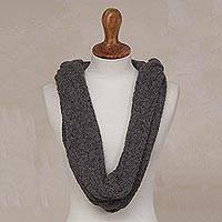 Alpaca blend hooded infinity scarf, 'Elegant Shade in Graphite' - Alpaca Blend Hooded Infinity Scarf in Graphite from Peru