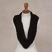 Alpaca blend hooded infinity scarf, 'Elegant Shade in Black' - Alpaca Blend Hooded Infinity Scarf in Black from Peru