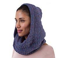 Alpaca blend hooded infinity scarf, 'Elegant Shade in Iris' - Alpaca Blend Hooded Infinity Scarf in Iris from Peru