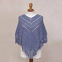 Alpaca blend poncho, 'Celestial Princess' - Cadet Blue Alpaca Blend Hand Crocheted Fringed Poncho