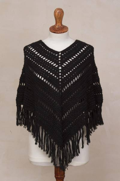 Alpaca blend poncho, 'Midnight Muse' - Black Alpaca Blend Hand Crocheted Fringed Poncho