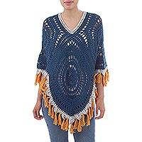 Alpaca blend poncho, 'Celestial Dream' - Blue Contrasting Fringe Alpaca Blend Hand Crocheted Poncho