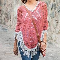 Alpaca blend poncho, 'Sunrise Dream' - Rose with Ivory Fringe Alpaca Blend Hand Crocheted Poncho