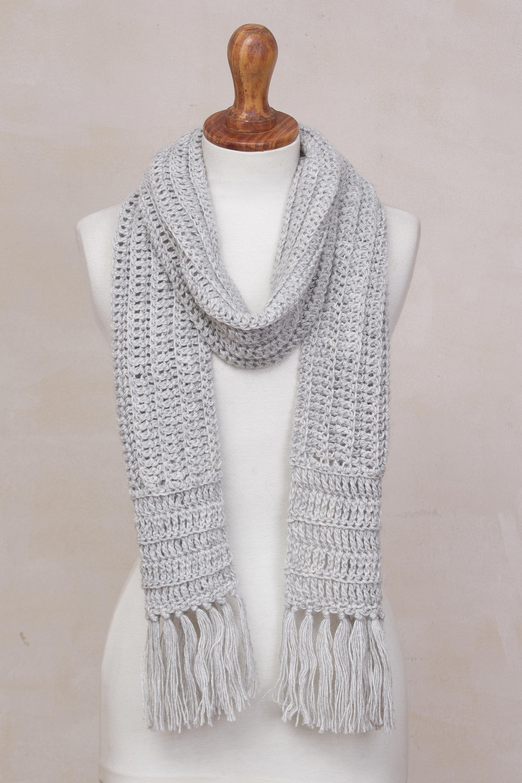Hand Crocheted Alpaca Blend Scarf In Pale Grey From Peru Huandoy