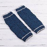 Hand-crocheted alpaca blend leg warmers, 'Inca Style in Azure' - Hand-Crocheted Alpaca Blend Leg Warmers in Azure from Peru