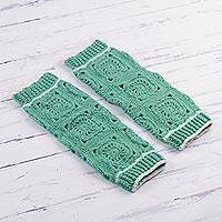 Hand-crocheted alpaca blend leg warmers, 'Inca Style in Mint' - Hand-Crocheted Alpaca Blend Leg Warmers in Mint from Peru
