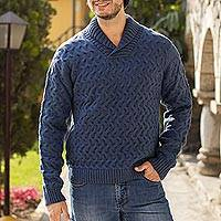 Men's alpaca blend sweater, 'Blue Earth' - Peruvian Men's Blue Acrylic and Alpaca Knit Pullover Sweater