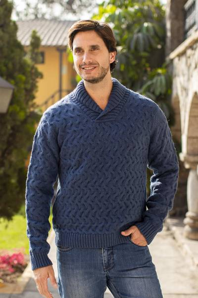 Men's alpaca blend sweater, 'Blue Earth' - Peruvian Men's Blue Acrylic and Alpaca Knit Pullover Sweater