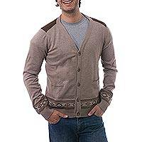 Men's 100% pima cotton cardigan, 'Mountain Horizon' - Men's Taupe Knit Cardigan in 100% Pima Cotton from Peru