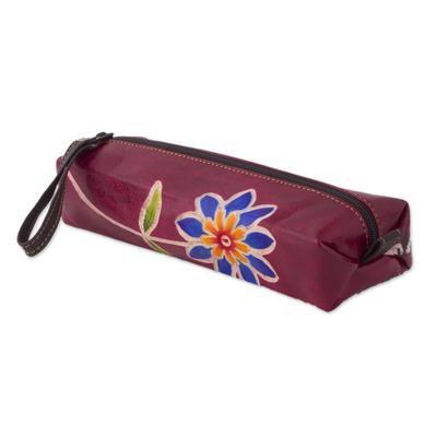 Leather pencil case, 'Qenko' - Cranberry Hand Painted Leather Pencil Case, Incan Motifs