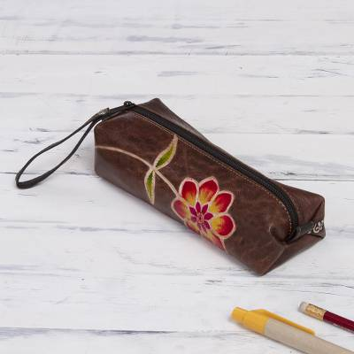 Leather pencil case, 'Moray Flower' - Brown Leather Pencil Case with Hand Painted Flower