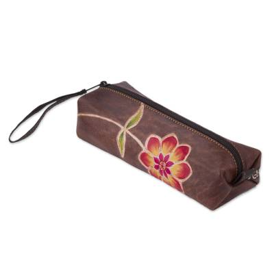 Brown Leather Pencil Case with Hand Painted Flower