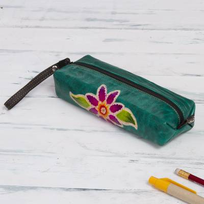 Leather makeup case, 'Cusco Flower' - Green Leather Makeup Case with Hand Painted Flower