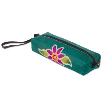 Leather case, 'Cusco Flower' - Green Leather Makeup Case with Hand Painted Flower