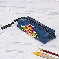 Leather makeup case, 'Cusco Sky' - Blue Leather Makeup Case with Hand Painted Flower