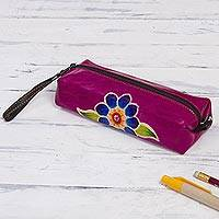 Leather pencil case, 'Cusco Bloom' - Magenta Leather Pencil Case with Hand Painted Flower