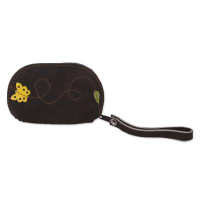 Black Suede Leather Coin Purse, Yellow Butterfly Appliqu?�?�