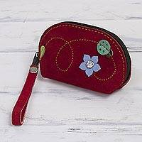 Suede coin purse, 'Ladybug' - Red Suede Leather Coin Purse with Green Ladybug Appliqué