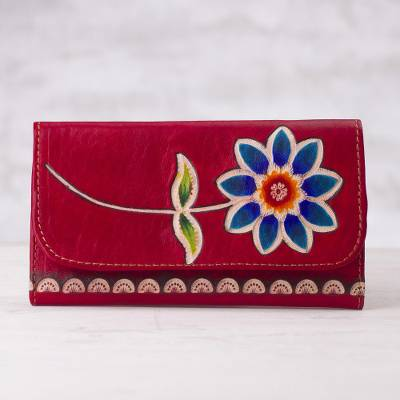 Leather wallet, 'Fiery Bloom' - Red Leather Tri-Fold Wallet with Hand Painted Blue Flower